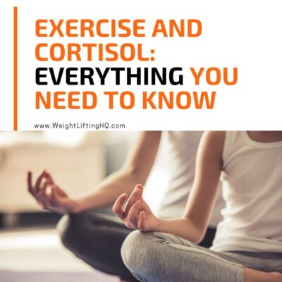 Text reads: Exercise and Cortisol, everything you need to know. www.weightliftinghq.com. Image of two people practicing yoga.
